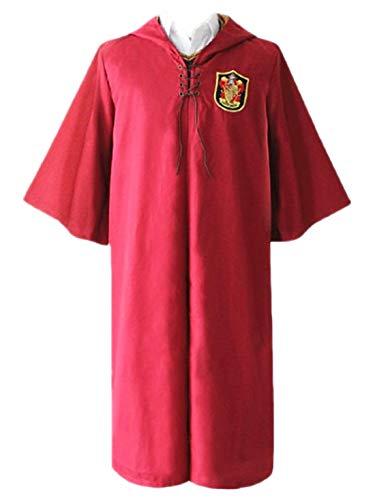 Monissy Unisex Harry Umhang Kinder Erwachsene Robe mit Kapuze Gryffindor Slytherin School Quidditch Costume Cosplay Kostüm Set Harry Weste Halloween Fasching Karneval Party Cosplay Kostüm