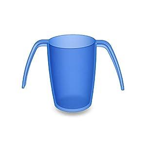Ornamin 2-Henkel-Becher 220 ml blau | ergonomischer Kunststoff-Becher mit zwei Henkeln, sicher Greifen und Halten bei Zittern | Spezial-Trinkhilfe, Pflege-Becher, Tremor-Becher