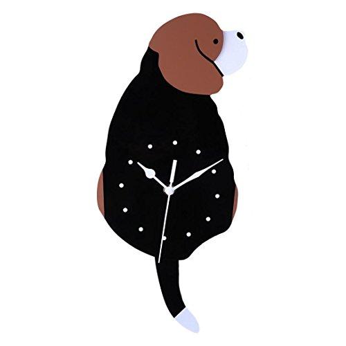 Wanduhr Dekoration,Jaminy DIY 3D Wanduhr Alarm Uhr Acryl Kreativ Cartoon Niedlich Hund Wanduhr Dekorationen Tolles Geschenk Uhr Weise Schwanz Bewegung Ruhe (B)