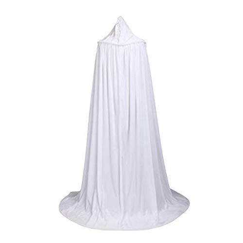 it Kapuze Lange Samt Cape für Halloween Karneval Fasching Vampir Kostüm(60-170cm) Weiß ()