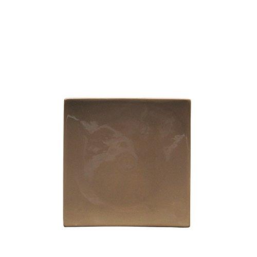 Bruno Evrard Assiette dessert taupe en céramique 21x21cm - Lot de 6 - MATINE