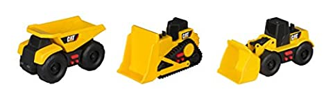 Toy State Caterpillar Cat Mini Mover Light and Sound Dump Truck with Bulldozer & Wheel Loader Vehicles (3 Pack)
