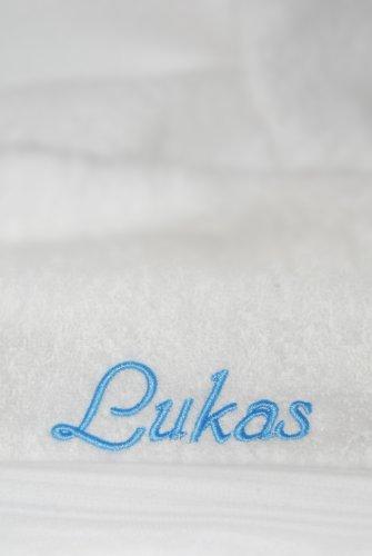 Duschtuch mit Namen oder Wunschbegriff bestickt, 70x140cm, Weiß, Stickfarbe Hellblau