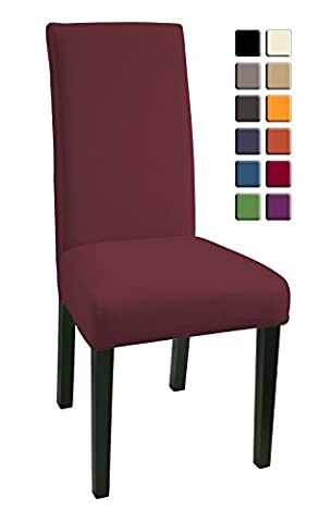 SCHEFFLER-HOME Mia Microfiber Chaircovers 2 pieces, Stretch Chair Cover, Bi-elastic modern Slipcover, Decor Lycra fabric Protective Cover with elastic band, universal nosefitting by spandex, elastic Span-Cover, easy to clean and durable - Bordeaux