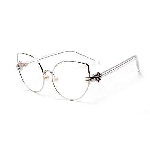 YMTP Occhiali da Vista con montature per Occhiali da Vista da Donna, Occhiali Vintage di Lusso, Occhiali da Lettura per Le Donne, Argento