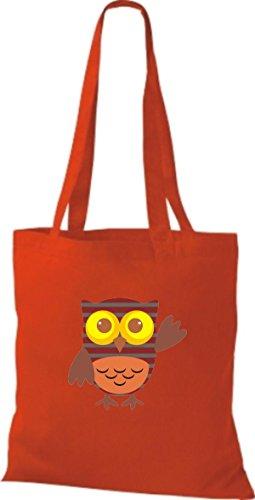 ShirtInStyle diverse Eule Farbe niedliche Bunte Tragetasche rot Stoffbeutel Retro mit Owl Jute Punkte OZqrwpAOn