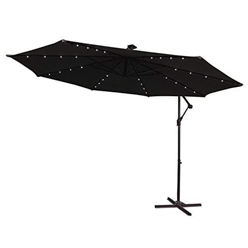 HENGMEI Ø300cm ALU Sonnenschirm Gartenschirm Ampelschirm Strandschirm Kurbelschirm Neigbar Marktschirm Terrassenschirm mit UV Schutz 40+, mit Solar LED Warmweiß Beleuchtung für Balkon, Garten, Tarasse (Ø300 cm mit LED, Dunkelgrau)