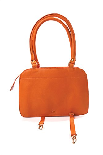 MAMIX - Sac Accordéon - Femme - 100% Cuir Orange