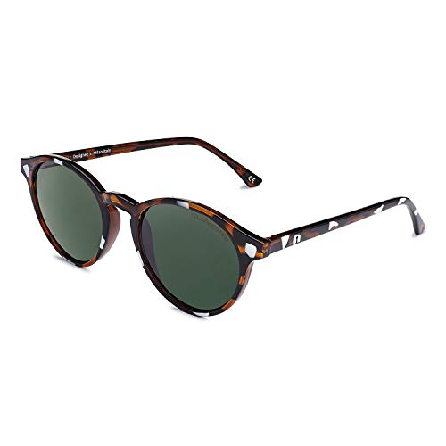 CLANDESTINE Round Cream Habana Dark Green - Gafas de Sol de Nylon HD para Hombre & Mujer