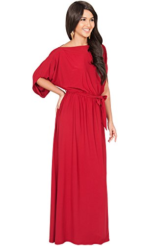 KOH KOH® Femmes Robe Longue Manches Batwing Soirée Formelle Occasionnelle Rouge Cramoisi