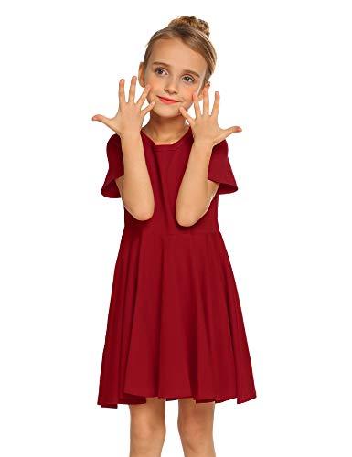 Kleid Mädchen Sommer A-Linie Kurzarm Baumwolle T-Shirt Kleider Freizeitkleidung Gr. 110-150 Baumwolle Kurzarm-leggings