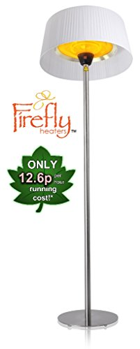 Firefly 2.1KW� Freestanding Outdoor Patio Heater with White Lampshade, Stainless Steel Stand and Base