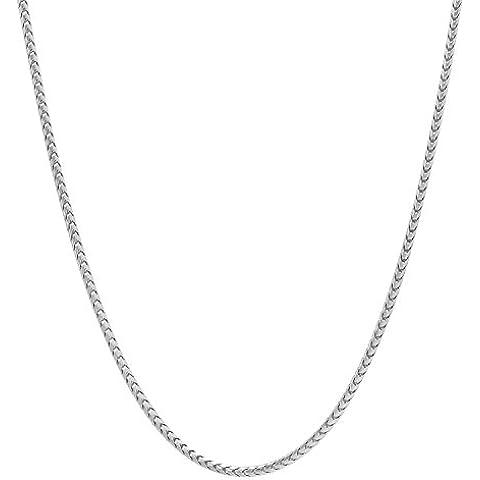 1,4 mm, placcato al rodio in argento Sterling 925, catenina a forma di coda di volpe