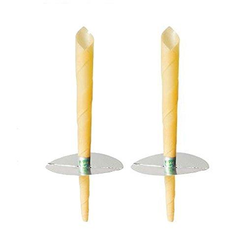 pawaca reinen, natürlichen Bienenwachs Kerzen 2Stück, 100% ungiftig Hohl Bienenwachs Schieren Kegel mit natürlichen Honig Duft inklusive schützendem Disk