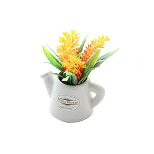 AchidistviQ 1 StüCk KüNstliche Blume Basilikum Gras Bonsai Teekanne Topf Garten Garten Dekor Orange
