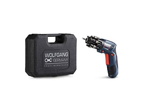 WOLFGANG Mini Destornillador Inalámbrico 3.6 V | Atornillador pequeño con Juego de 27 Puntas y Accesorios | Batería de Ion litio 1500 mAh, carga rápida 1H | Asa giratoria de 90°
