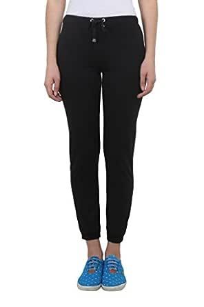 Vimal Women's Cotton Blend Track Pants, Small(Black, F4BLACK01-S)