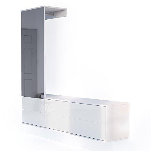 VICCO Garderobenset Flur Garderobe Hochglanz mit Push to Open Funktion und riesigen XXL Spiegel - Großzügiger Schuhschrank Wandhängend (Komplettset, weiß hochglanz)