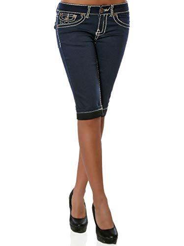 Damen Capri Jeans Kurze Sommer Hose Dicke Naht DA 15984 Farbe Navy Größe XL / 42