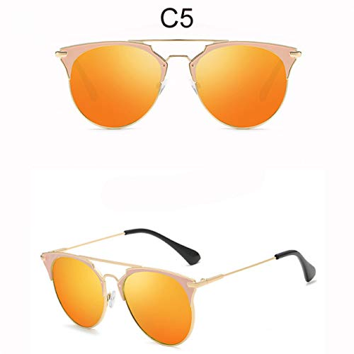 DEFG&FAD Cat Eye Sonnenbrille Damen Runde Linse Flat Top Sonnenbrille Vintage Mirror Eyewear Female Shades, 5