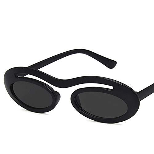 YLNJYJ New Small Oval Sonnenbrille Frauen Männer Single Beam Hip Hop Sonnenbrille Schwarz Rot Shades Vintage Schwarz Rot Rosa Sonnenbrille Uv400