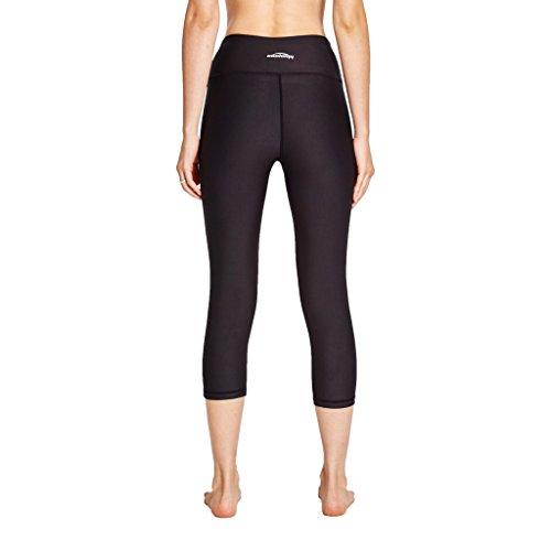 COOLOMG Damen Leggings Yoga Capris Lang Hosen Kompression Sport Trainingshose S M L XL Schwarz (3/4 Hose)