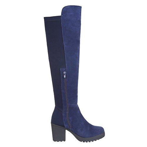 Ital-Design Damen Schuhe, B2892-HB, Overknee Wildleder Stiefel Blau