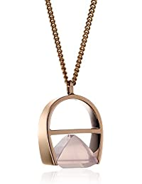 kattri 18 ct Rose Gold und Rose Quarz Halskette Parabel Länge 32,6 cm