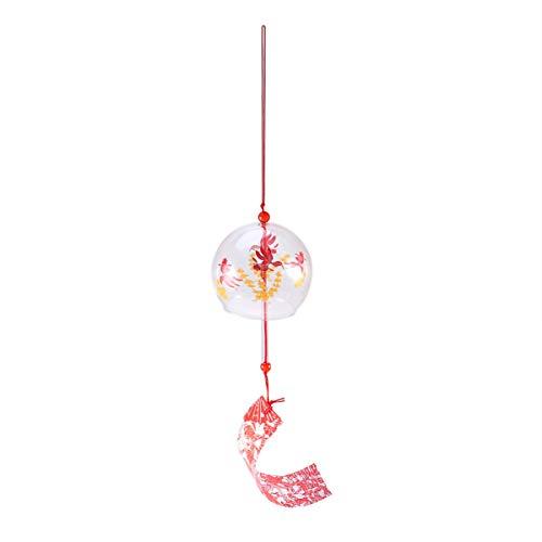 Amosfun Japonais Vent Carillon Poisson Rouge Verre Vent Cloches décoratives Suspendus Carillon éolien Suspendu décor pour Voiture intérieur Maison