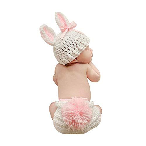 Neugeborenen Kostüm Mädchen Baby - Isuper Neugeborenes Baby Nette Fotografie Requisiten Hut und Unterwäsche Baby Mädchen Strickmütze Kostüm Foto Fotografie Props Outfits (Rosa und Weiß)