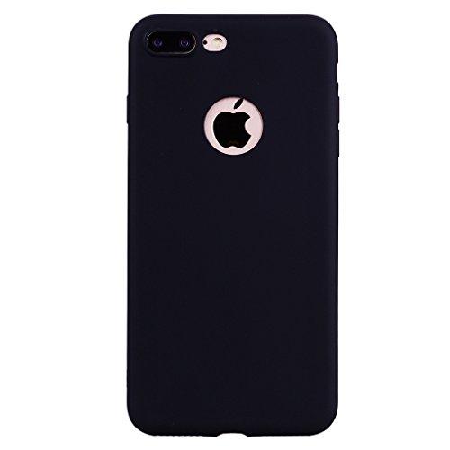 """Coque pour Apple iPhone 7 Plus , IJIA Pur Noir TPU Doux Silicone Bumper Case Cover Shell Housse Etui pour Apple iPhone 7 Plus (5.5"""") Black"""