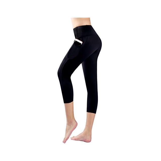 ... Munvot Legging Capri Pantacourt de Sport Femme Coupe Genoux Amincissant  - avec Poche Yoga Fitness Jogging 8924ebbef5d