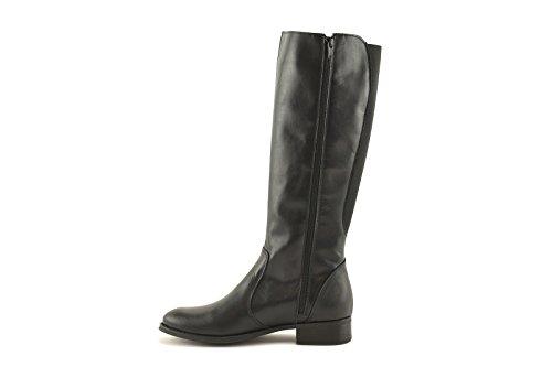 ConBuenPie - Damen Lederstiefel und elastischen textil dahinter in Spanien hergestellt Schwarz