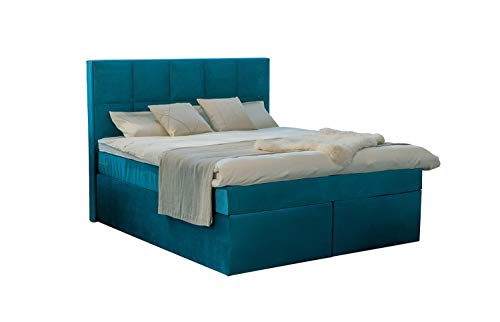 Dream Boxspringbett 200x200 cm Velour Petrol-Blau mit Bettkasten und Luxus 7-Zonen Taschenfederkernmatratze Visco-Topper Härtegrad H3 Hotelbett Doppelbett Polsterbett Luxusbett