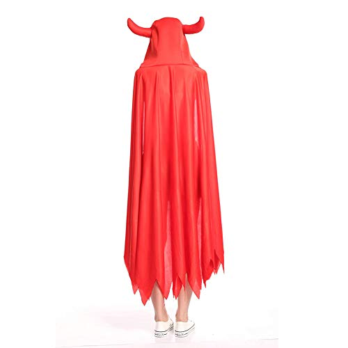 Chytaii Cape mit Kapuze, Halloween, lang, für Kinder, Kostüm, mit Horn, Mantel mit Kappe, Rot
