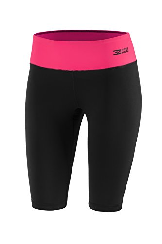 FITTECH PERFORMANCE Damen Thermoaktiv Legging Leggins Strumpfhose Tights Shorts Laufhose Kurz Fitness Pilates Outdoor Radsport Running (Schwarz/Rosa, S) (Leggings Strumpfhose Shorts)