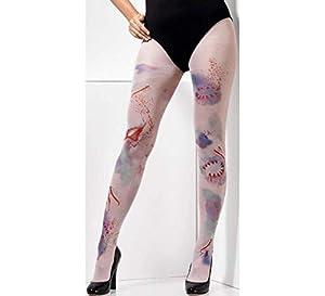 Smiffys 44802 Zombie Attack - Mallas opacas para mujer (talla XS a M), color piel