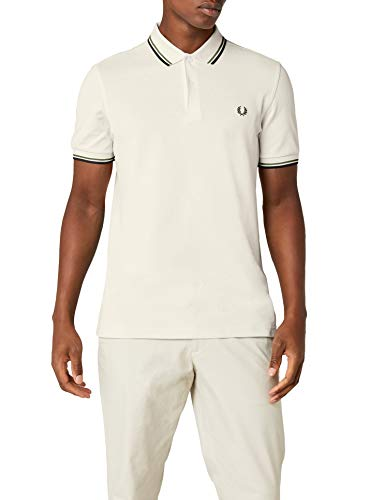 Fred Perry Herren Poloshirt Twin Tipped Shirt, Beige (Ecru/Verde/Black F79), XL