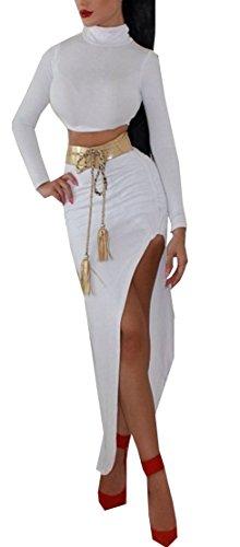 Qissy® Femmes Sexy Deux Pièces Bandage irrégulier Moulante Manches Longues Parti Crayon De Clubwear De Soirée Robe De Cocktail Blanc