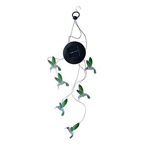 Ogquaton Solar Mobile Windspiele Hummingbird Solarbetriebene Hängelampe Verfärbung Lichtsteuerung Windspiel für Outdoor Indoor Beleuchtung Dekoration 1 Stücke -