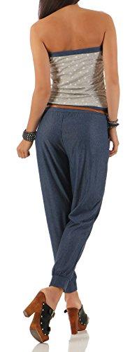 malito Damen Einteiler mit Stern Print | Overall mit Gürtel | Jumpsuit im Jeans Look