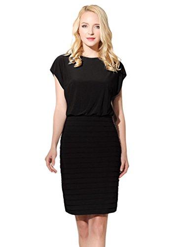 Bbonlinedress Damen Slim-Fit Jumpsuit Business Office Lady Tank Pencil Kleid Black (Tank Dress Black)