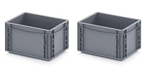 2x Eurobehälter 30 x 20 x 17 grau inkl. gratis Zollstock 2er Set