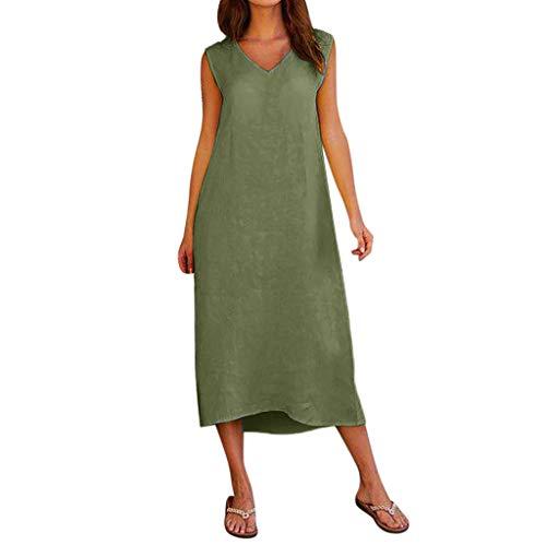 GreatestPAK Damen Sommerkleid Ärmellos V-Ausschnitt Baumwolle Leinen Maxikleid Long Beach Kleiderrock,Armeegrün,2XL