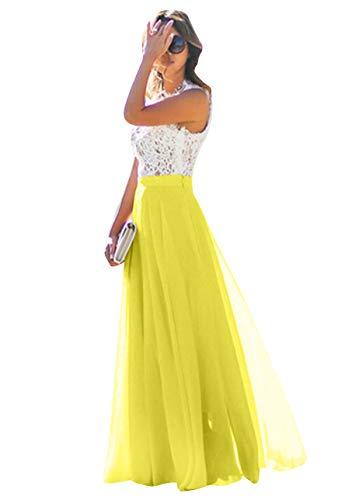 OMZIN Damen Chiffon Kleid Blumen Spitze Kleid Party Maxi Kleider für Damen Gelb S -