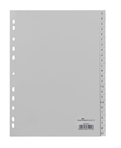 DURABLE Hunke & Jochheim Register, PP, A - Z, grau, DIN A4, volldeckend, 215/230 x 297 mm, 24 Blatt