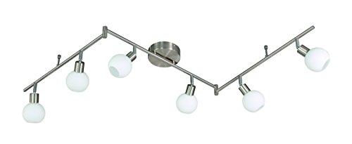 Action Deckenbogen, 6-flammig, Serie Nois, 6 x LED, 5 W, 6-6 V, Höhe 21.5 cm, Tiefe 170 cm, Kelvin 3000, Lumen 400, nickel matt 907106640000