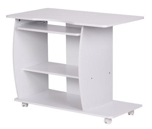 Amstyle Computertisch Diana modern mit Tastaturauszug, PC-Tisch Holz platzsparend mit Rollen, Laptop-Tisch mit Drucker Ablage, Schreibtisch für kleine Räume, 90 x 50 x 66 cm, weiß (Günstige Drucker Laptop)