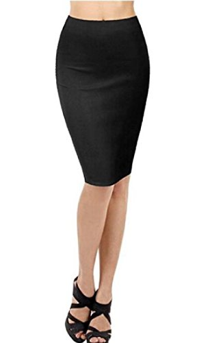 CuteRose Womens Skinny Sexy Office Business Basic Mid Pencil Skirt S Navy Blue -