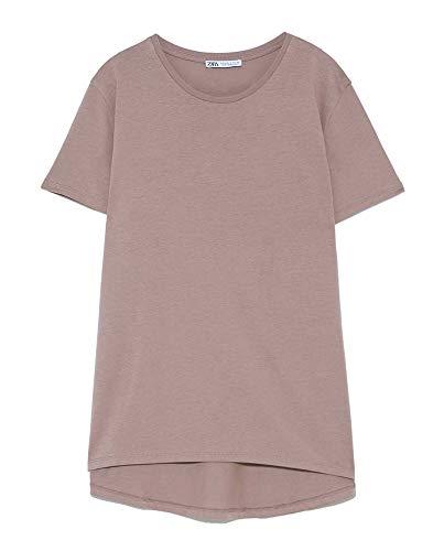 ZARA Damen Asymmetrisches t-Shirt 4174/025 (Large) (Zara Shirt)